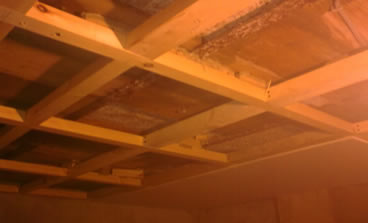 Carpentry skills required to build the joist work  of a new ceiling in a cellar conversion.