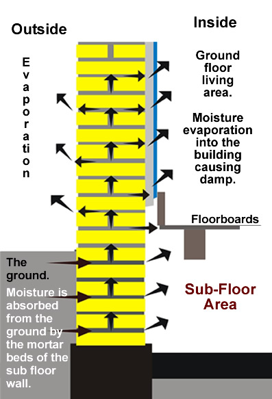 Movement of moisture from the ground into a 9 inch solid wall.  Typically damp course provisions in 2 bedroomed houses in the Richmond,  Twickenham, Teddington and Hampton areas are subjective.